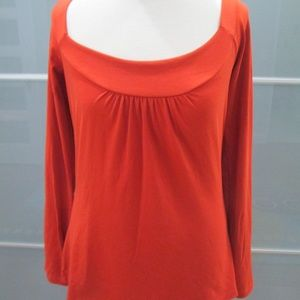Long Sleeve Gathered Front Scoop Blouse Shirt Top